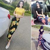 2018夏裝新款女裝韓版氣質露背短袖上衣 印花中長款包臀裙套裝潮