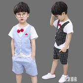 男童禮服西裝馬甲套裝兒童格子兩件套小孩表演服花童英倫主持演出服夏 LJ4438『東京潮流』