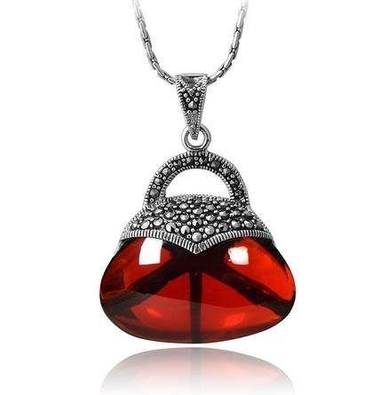 銀首飾品 紅鑽石項鏈吊墜子女款新品