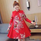 印花棉麻連身裙寬鬆大碼民族風女裝