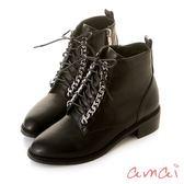 amai 美式街頭鏈帶軍靴 黑