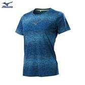 MIZUNO 女裝 上衣 短袖 T恤 慢跑 吸汗快乾 反光印花 條紋 後領反光 藍【運動世界】J2TA970915