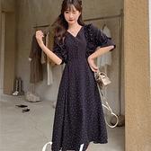裙子洋裝實拍夏季度假韓版雪紡波點連衣裙女寬松系帶收腰裙NE34A.8102胖胖唯依