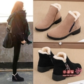 雪靴 2020冬季新款馬丁靴女英倫風學生韓版百搭保暖棉鞋短筒刷毛雪地靴 2色35-41