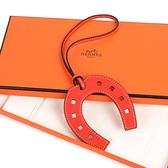 HERMES馬蹄造型小牛皮鑰匙圈吊飾(經典橘)370053