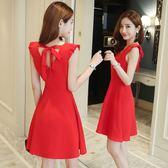 雪紡洋裝女夏小個子心機顯瘦一字肩大紅色性感露背裙子