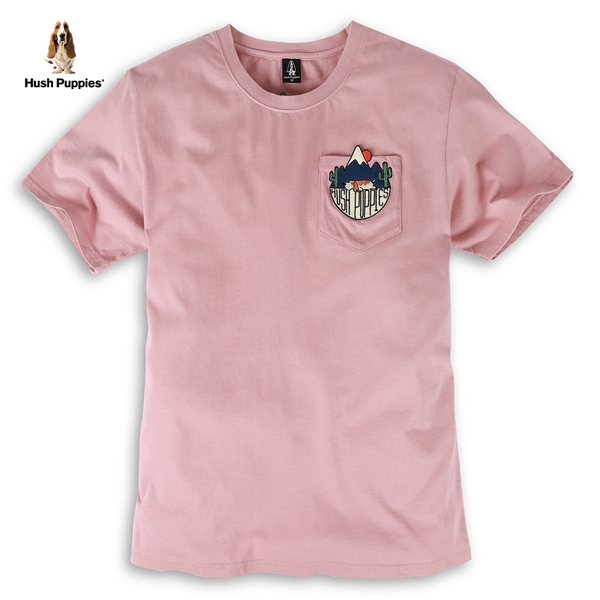 Hush Puppies T恤 男裝口袋造型刺繡趴狗短袖T恤