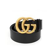 【GUCCI】大雙G霧金logo牛皮皮帶(黑色)406831 DJ20T 1000