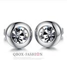 《QBOX 》FASHION 飾品【W2016N281】精緻個性百搭圓形鋯石316L鈦鋼針式耳環