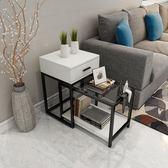 簡約現代沙發邊櫃客廳臥室鋼化玻璃邊幾角幾邊桌小戶型茶几可伸縮wy【奇趣家居】