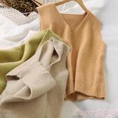 針織馬甲8055針織馬甲女秋季新款女裝韓版寬鬆學生背心坎肩針織衫無袖上衣 交換禮物
