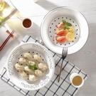 圓形瀝水雙層陶瓷盤子菜盤大號水餃托盤蒸盤...