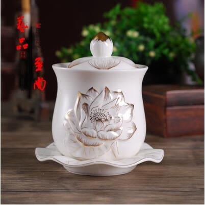 四供五供 佛具用品 浮雕蓮花大號水杯 浮雕 陶瓷