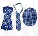 【出清特價】美國My Little Legs 格紋帽子,領帶,襪套 三件組-藍色格子