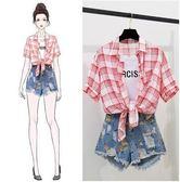 特賣款不退換套裝二件式S-L/32086/新款女夏裝短袖韓版小眾洋氣格子襯衫假兩件套 牛仔短褲1號公館