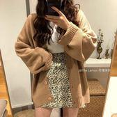 針織外套新款慵懶風毛衣女休閑寬松V領純色單排扣針織開衫外套潮「輕時光」