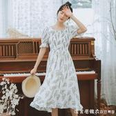 2020夏季新款女裝甜美小清新荷葉邊修身顯瘦雪紡溫柔風短袖連身裙