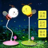 充電led小夜燈遙控護眼臥室床頭月子嬰兒喂奶起夜台燈【果果精品】