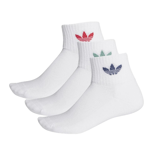 adidas 襪子 Mid-Cut Crew Socks 藍 綠 紅 短襪 三雙入 三葉草【ACS】 FM0642
