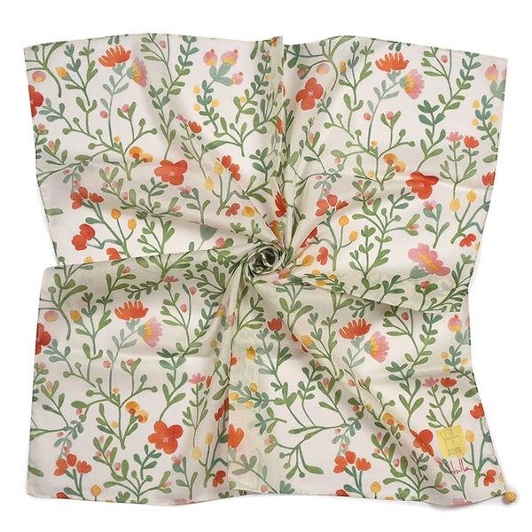 Sybilla滿版小野花圖案純綿帕領巾(橘綠色)989164-114
