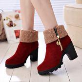 店長推薦雪地靴女秋冬季中筒短靴2019新款時尚棉鞋加絨加厚靴子粗高跟女鞋