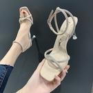 高跟鞋 水鑚潮水晶跟涼鞋仙女風夏季一字扣帶羅馬細跟高跟鞋-Ballet朵朵
