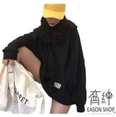 EASON SHOP(GU7967)韓版純色小LOGO圓領長袖連帽T恤女上衣服落肩寬鬆長版OVERSIZE素色棉T恤黑色