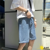 五分褲 夏季新款牛仔短褲薄款5分馬褲港風中褲寬鬆休閒ins潮
