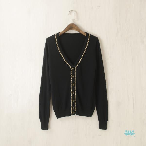 viNvi Lady 金屬鏈條綴飾氣質長袖針織外套 長袖外套