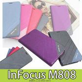 E68精品館 隱形磁扣皮套 富可視 InFocus M808 斜紋 側翻支架 磨砂雙色 手機套保護套軟殼 矽膠殼