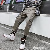 2019港風chic褲子男工裝褲韓版潮流九分褲寬鬆街頭潮牌春夏休閒褲 西城故事