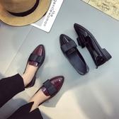 英倫風漆皮小皮鞋女春2019舒適平底尖頭單鞋黑色蝴蝶結低跟工作鞋