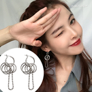 耳環-日韓嘻哈情侶圈圈長鍊條耳墬耳針 (SRA0151) AngelNaNa