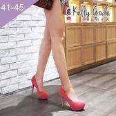大尺碼女鞋-凱莉密碼-時尚玩色圓頭內防水台絨面超高跟鞋12cm(41-45)【AE16-8】粉色