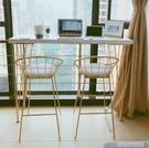 美式吧台桌家用小型吧台簡約現代靠牆高腳實木奶茶店酒吧桌椅金色 YDL