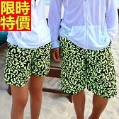 情侶款海灘褲(單件)-衝浪防水綠色塗鴉個性設計男女短褲66z41【時尚巴黎】