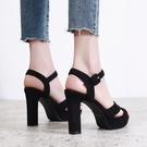 高跟凉鞋 2021夏季新款韓版黑色露趾百搭一字帶防水臺高跟涼鞋女粗跟羅馬鞋