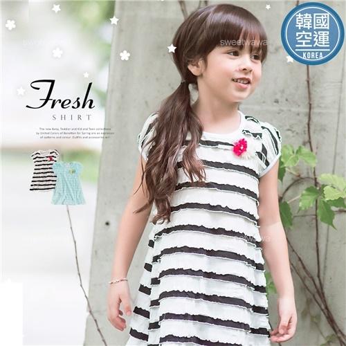 韓國童裝~波浪多層次柔柔傘狀長版上衣小洋裝(250476)★水娃娃時尚童裝★