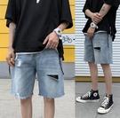 牛仔短褲男潮流夏季外穿2021年網紅爆款破洞五分褲子寬松直筒中褲