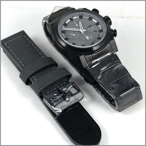 【萬年鐘錶】elegant大錶徑 三眼多功能 特別款(全黑-灰) ELJT51-OG06MA