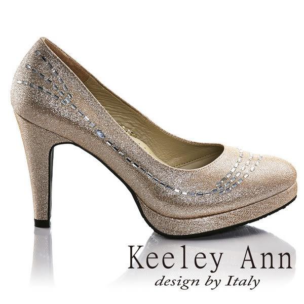 ★零碼出清★Keeley Ann璀璨光芒~完美曲線水鑽真皮軟墊高跟鞋(金色)