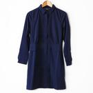 【MASTINA】燕子領壓褶洋裝-深藍 ...