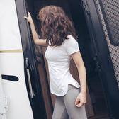 速干健身服短袖女夏季顯瘦緊身運動跑步瑜伽上衣T恤 【快速出貨八折免運】