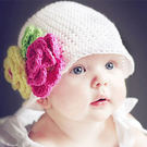 *甜蜜蜜親子童裝*韓單手工小花針織帽((白底粉黃小花))