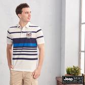 【JEEP】撞色條紋拼接短袖POLO衫(白)