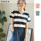 女T恤 休閒 橫條紋 V領 棉 USA美國棉 免運費 日本品牌【coen】