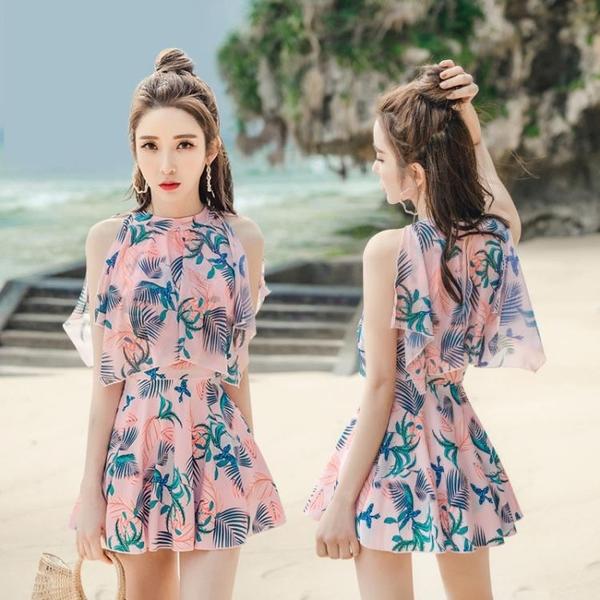 泳衣女新款時尚印花韓國小清新遮肚顯瘦連體裙式超仙沙灘溫泉泳裝