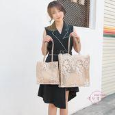 購物包 蕾絲包新品女包手提包購物袋鏤空沙灘包復古刺繡單肩包托特包