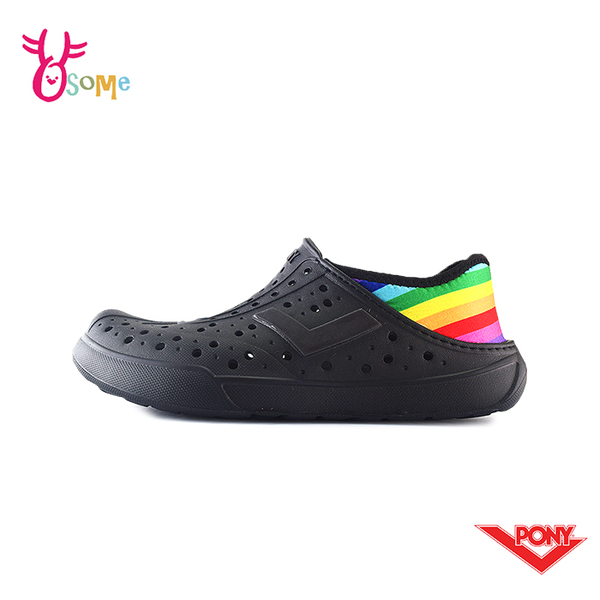PONY水鞋 男鞋 女鞋 洞洞鞋 可踩後跟 彩虹款 懶人鞋 水陸鞋 快乾 透氣 軟底 M9463#黑彩◆奧森