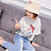 女童長袖T恤加絨秋冬童裝2020新款中大童秋裝洋氣兒童假兩件上衣  【端午節特惠】